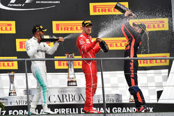 Podium: Race winner Lewis Hamilton, Mercedes AMG, second place Sebastian Vettel, Ferrari, third place Daniel Ricciardo, Red Bull Racing