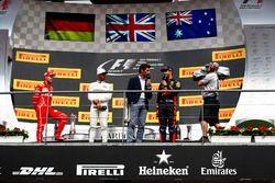 Podium: second place Sebastian Vettel, Ferrari, Race winner Lewis Hamilton, Mercedes AMG F1, Mark W