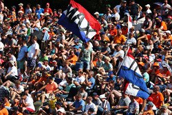 Fans with flag of Max Verstappen, Red Bull Racing