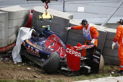 The Scuderia Toro Rosso STR10 of Carlos Sainz Jr., in the Tecpro barriers