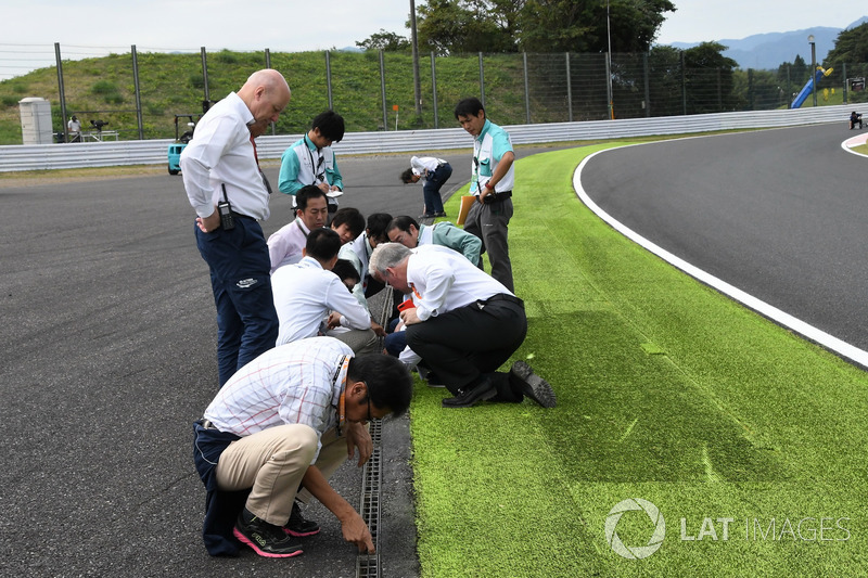 Track drain covers are examined