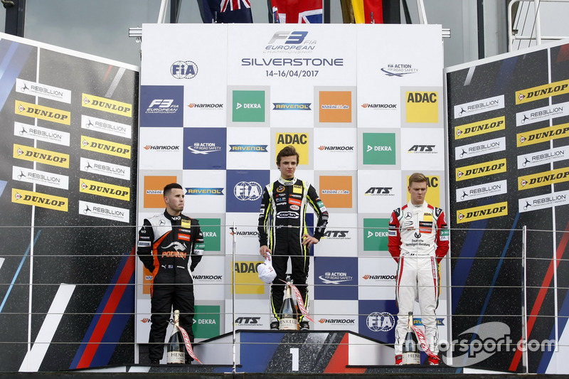 Rookie Podium: Race winner Lando Norris, Carlin,  Dallara F317 - Volkswagen, second place Joey Mawson, Van Amersfoort Racing, Dallara F317 - Mercedes-Benz, third place Mick Schumacher, Prema Powerteam, Dallara F317 - Mercedes-Benz