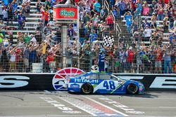 Jimmie Johnson, Hendrick Motorsports Chevrolet celebrates after winning