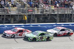 Kyle Larson, Chip Ganassi Racing Chevrolet leads Kyle Busch, Joe Gibbs Racing Toyota and Denny Hamli