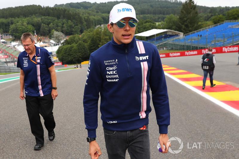 Esteban Ocon, Sahara Force India F1 walks the track