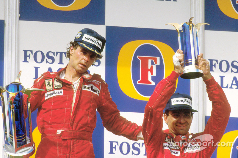 Podium: race winner Gerhard Berger, Ferrari, third place Michele Alboreto, Ferrari