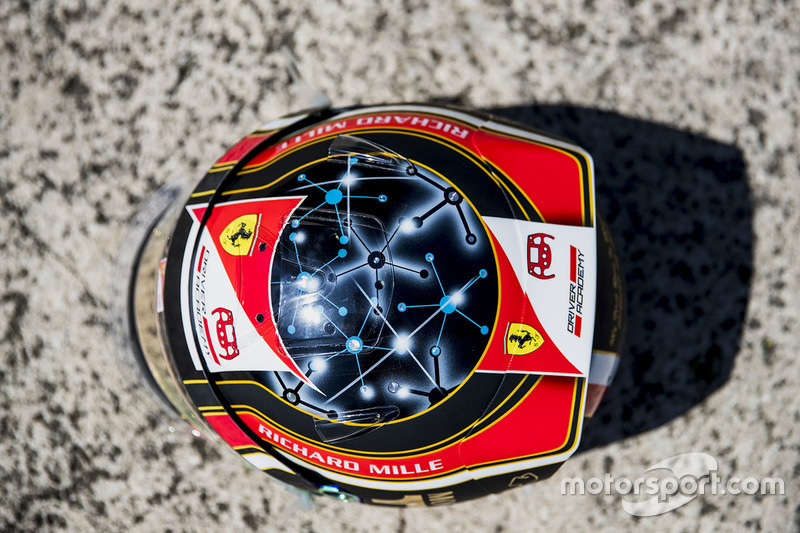 A one off helmet for Charles Leclerc, PREMA Racing