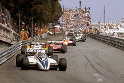 Riccardo Patrese, Brabham BT49D Ford leads Alain Prost, Renault RE30B, Didier Pironi, Ferrari 126C2 and Andre de Cesaris, Allfa Romeo 182