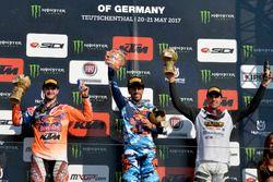 El podio de MXGP: Jeffrey Herlings, Antonio Cairoli y Gautier Paulin