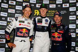 Podium: Winner Johan Kristoffersson, PSRX Volkswagen Sweden, VW Polo GTi, second place Mattias Ekström, EKS, Audi S1 EKS RX Quattro, third place Sebastien Loeb, Team Peugeot-Hansen, Peugeot 208 WRX