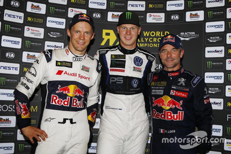 Podium: winnaar Johan Kristoffersson, PSRX Volkswagen Sweden, VW Polo GTi, tweede plaats Mattias Ekström, EKS, Audi S1 EKS RX Quattro, derde plaats Sebastien Loeb, Team Peugeot-Hansen, Peugeot 208 WRX