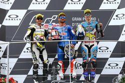 Podium: second place Thomas Luthi, CarXpert Interwetten, Race winner Mattia Pasini, Italtrans Racing Team, third place Alex Marquez, Marc VDS