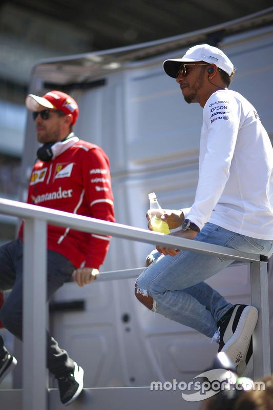 Lewis Hamilton, Mercedes AMG F1, Sebastian Vettel, Ferrari, on the drivers' parade