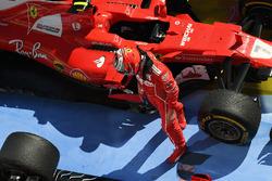 Kimi Raikkonen, Ferrari SF70-H in parc ferme