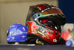 The helmet of Daniel Abt, ABT Schaeffler Audi Sport, alongside a model helmet