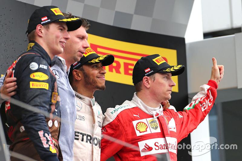 Lewis Hamilton, Mercedes AMG F1 Team, Kimi Raikkonen, Scuderia Ferrari e Max Verstappen, Red Bull Racing