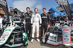 Indy Lights champion Ed Jones with Simon Pagenaud, Team Penske Chevrolet, Will Power, Team Penske Chevrolet at Pier 39