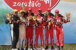 APRC podium: winners Gaurav Gill, Glenn MacNeall, Skoda Fabia R5, Team MRF, second place Takayama Hitoshi, Nakagawa Tomoyuki, Subaru Impreza WRZ STI, third place Fabian Kreim, Frank Christian, Skoda Fabia R5, Team MRF
