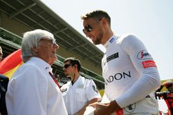 (L to R): Bernie Ecclestone, with Jenson Button, McLaren on the grid