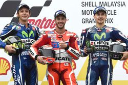 Race winner Andrea Dovizioso, Ducati Team, second place Valentino Rossi, Yamaha Factory Racing, third place Jorge Lorenzo, Yamaha Factory Racing