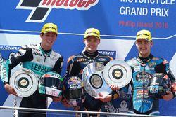 Podium: race winner Brad Binder, Red Bull KTM Ajo, second place Andrea Locatelli, Leopard Racing, third place Aron Canet, Estrella Galicia 0,0
