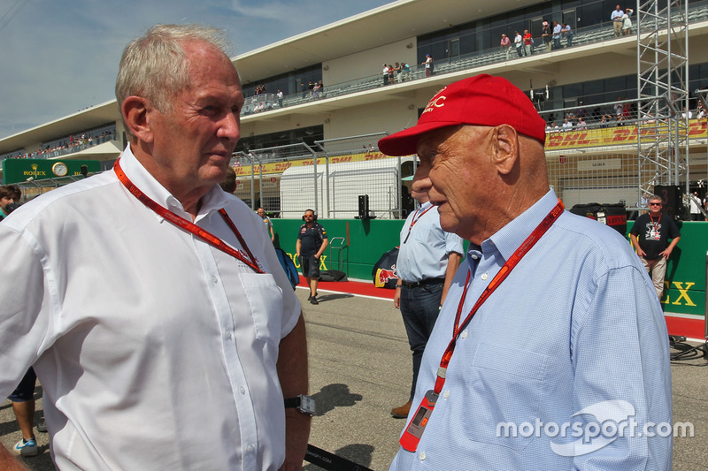(L to R): Dr Helmut Marko, Red Bull Motorsport Consultant with Niki Lauda, Mercedes Non-Executive Ch