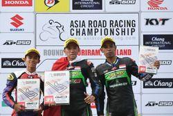 Podium Underbone 130cc race 1 winner: Wahyu Aji Trilaksana, second place Haziq Fairues, third place Florianus Brilyan