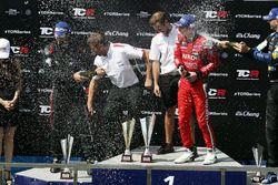 Podium: race winner James Nash, Team Craft-Bamboo, SEAT León TCR, second place Mikhail Grachev, West