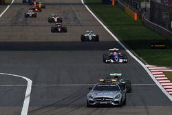 Nico Rosberg, Mercedes AMG F1 Team W07 leads behind the FIA Safety Car