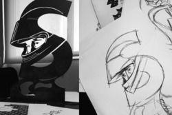 Rascunho e protótipo de uma das estátuas de Ayrton Senna