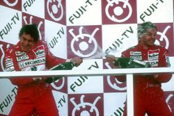 Podium: Race winner Gerhard Berger, McLaren, second place and Worldchampion Ayrton Senna, McLaren