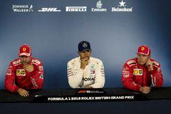 Sebastian Vettel, Ferrari, Lewis Hamilton, Mercedes-AMG F1 and Kimi Raikkonen, Ferrari in the Press Conference