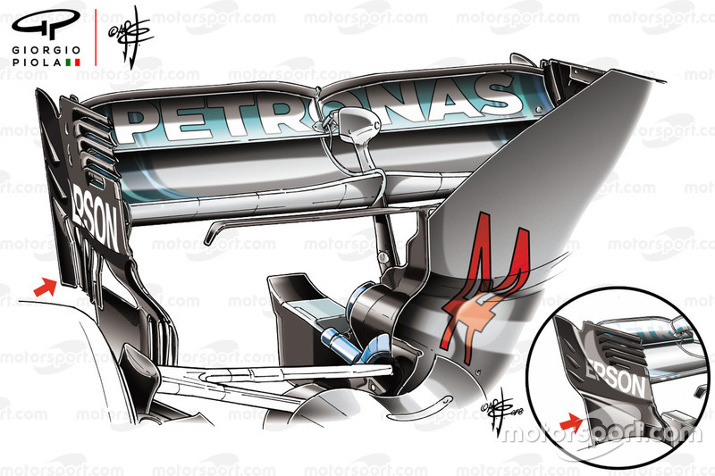 Mercedes W09 rear wing endplate comparison