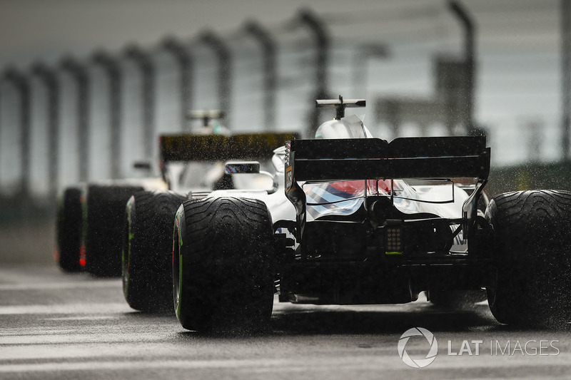 Lance Stroll, Williams FW41 on intermediate tyres