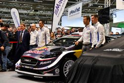 Malcolm Wilson, Sébastien Ogier and Elfyn Evans from M-Sport Ford gather at the WRC season launch