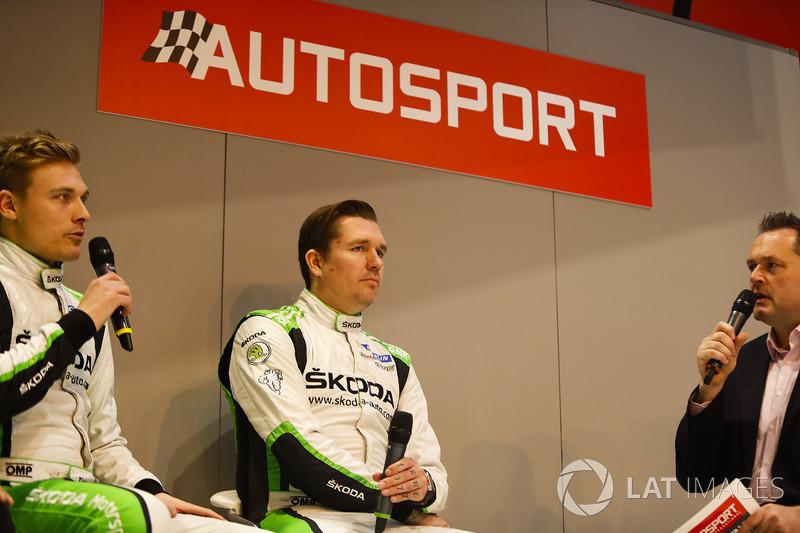 Michal Hrabanek, Pavel Hortek, Pontus Tideman and Emil Axelsson of Skoda talk to Henry Hope-Frost on the Autosport Stage