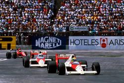 Ayrton Senna, McLaren MP4/5; Alain Prost, McLaren MP4/5; Gerhard Berger, Ferrari 640