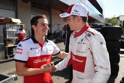 Charles Leclerc, Sauber fête son résultat avec son équipe