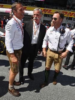 تشايس كاري، الرئيس التنفيذي لمجلس إدارة مجموعة الفورمولا واحد وكريستيان هورنر، مدير فريق ريد بُل ريسينغ