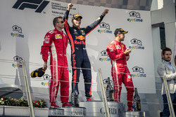 Kimi Raikkonen, Ferrari, Max Verstappen, Red Bull Racing and Sebastian Vettel, Ferrari celebrate on the podium
