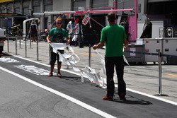 Markings are painted in pit lane