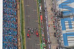 Top-3 van de kwalificatie: Lewis Hamilton, Mercedes AMG F1 W09, Sebastian Vettel, Ferrari SF71H, en