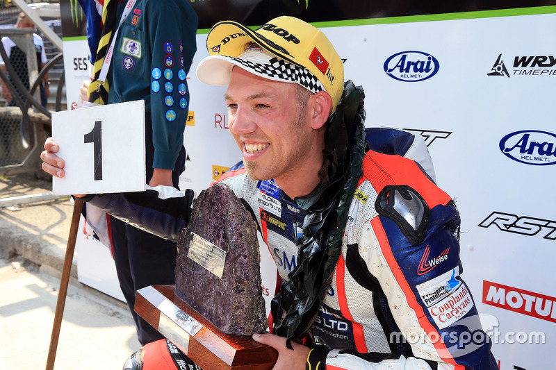 Peter Hickman celebrates winning the RL360º Superstock TT race
