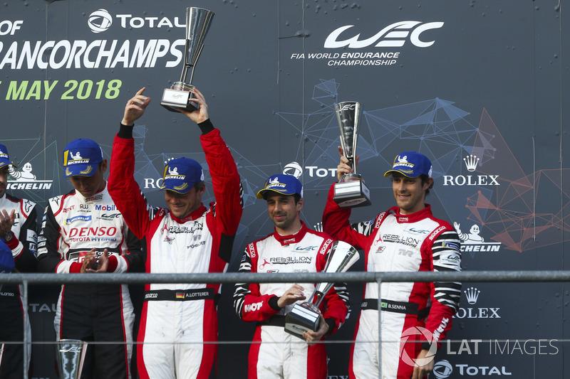 Third place Andre Lotterer, Neel Jani, Bruno Senna, Rebellion Racing
