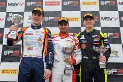 Podium: race winner Kush Maini, Lanan Racing, second place Nicolai Kjaergaard, Carlin, third place Linus Lundqvist, Double R Racing
