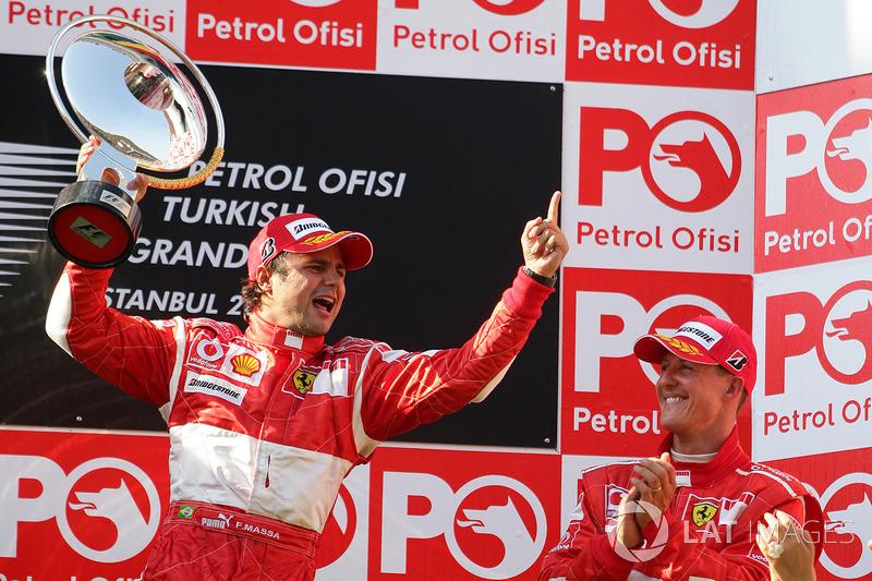De todas as 11 vitórias na F1, em nenhuma Felipe Massa saiu de uma posição pior que o segundo lugar no grid.