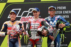 Podium: second place Marc Marquez, Repsol Honda Team, Race winner Jorge Lorenzo, Ducati Team, third place Valentino Rossi, Yamaha Factory Racing