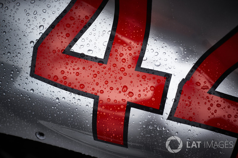 Rain water on the bodywork belonging to the car of Lewis Hamilton, Mercedes AMG F1 W09