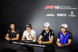 Romain Grosjean, Haas F1 Team, Fernando Alonso, McLaren, Esteban Ocon, Force India, and Pierre Gasly, Toro Rosso, in the press conference