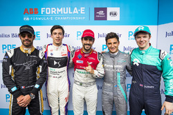 Lucas di Grassi, Audi Sport ABT Schaeffler, celebra después de tomar Pole Position con Jean-Eric Ver